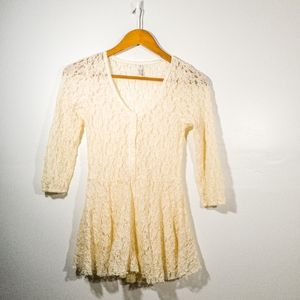 Free People Cream Lace Peplum Top